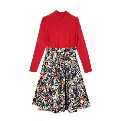 unique neck knit red & geometric pattern flare skirt